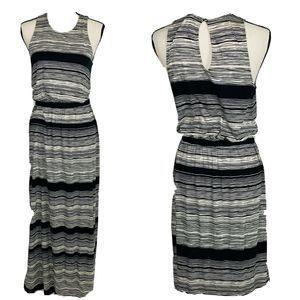 Loft Black White Striped Maxi Dress Small